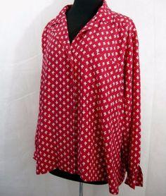 Red-White-Fleur-de-Lis-Blouse18W-Elisabeth-Liz-Claiborne-Shirt-Womens-Plus-LS