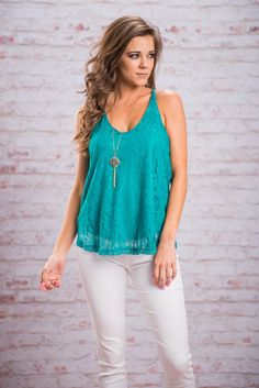 Lace In Love Tank, Teal || You will most certainly be in love with this lace tank! The sheer lace layer has so much movement! And no worries! It is fully lined so nothing will show that's not supposed to! Also, that teal color will win you over in a heart beat!