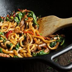 20 Minute Spicy Pork Udon Stir Fry - Full of flavour and weeknight easy! This 20 Minute Spicy Pork Udon Stir Fry uses wok-ready udon noodles means no boiling is required, so dinner is ready in just 20 minutes! Pork Udon, Chicken Udon, Garlic Chicken Stir Fry, Tofu Stir Fry, Veggie Stir Fry, Fried Vegetables, Chicken And Vegetables, Vegetable Noodles, Vegetable Recipes