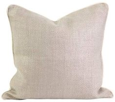 "Winema 18"" Square Down-Filled Taupe Linen Throw Pillow 