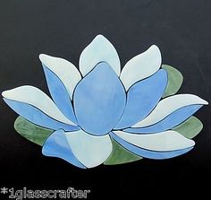 Lotus Waterlily precut stained glass art kit in shades of blue. Stained Glass Suncatchers, Fused Glass Art, Stained Glass Art, Stained Glass Windows, Mosaic Garden, Mosaic Art, Mosaic Glass, Mosaics, Stained Glass Projects