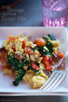 Kale, Sausage & Quinoa Scramble #glutenfree #arrowheadmills