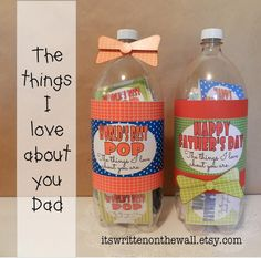 Fun Father's Day Gift Ideas:Printables...cards and labels-fun! Write sweet messages for dad on the cards and put in a soda bottle, box or jar-Everything is included for projects