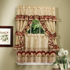 Complete Cottage Curtain Set With a Country Style Sunflower Print (Cottage Curtain Set, antique), Multi (100% Polyester, Check)
