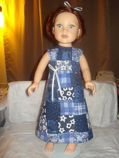 Blue patchwork a-line Maxi dress and headband for American Girl Dolls - ag168