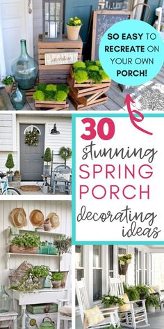 If you love farmhouse style AND you want to create a relaxing, inviting space on your porch this spring, today's post is for you! Farmhouse Front Porches, Rustic Farmhouse, Farmhouse Style, Rustic Porches, Farmhouse Garden, Spring Home Decor, Cute Home Decor, Spring Decorations, Small Porch Decorating