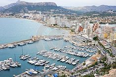 View to the yacht club of Calpe, Alicante, Spain from Ifach mountain