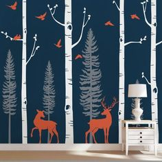 "SimpleShapes Birch Tree with Birds and Deer Wall Decal Color: Scheme A, Size: 96"" H x 113"" W"