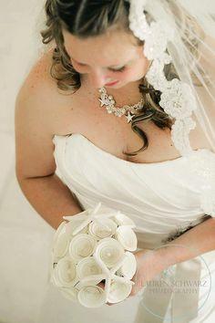 Starfish Bridal Bouquet -- Handmade Paper Flowers Bouquet with Starfish -- Beach Wedding -- Destination Wedding, FREE SHIPPING
