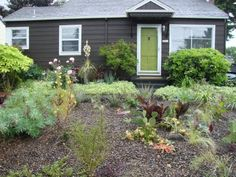 LOVE the dark grey house and bright green door!
