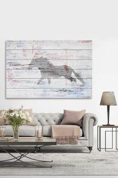 Parvez Taj Grey Horse Trot White Wood Wall Art