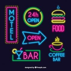 Set of bright neon signs Free Vector Neon Design, Graphic Design, Coffee Bar Design, Neon Words, Photos Hd, Neon Logo, Neon Wallpaper, Neon Aesthetic, Neon Party