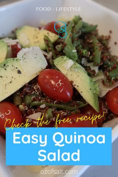 Super simple and healthy salad recipe from Oz of Salt! Quinoa is so versatile and good for you, You can combine any ingredients to make the perfect salad. A ready pre-made lunch or dinner recipe for moms or the entire family. #ozofsalt #familymeals #saladrecipe #simplesalad healthy eats | healthy food choices | lifestyle change | healthy living | easy recipes | good food | good eats | salad recipes | meal planning for busy moms Healthy Food Choices, Healthy Salad Recipes, Healthy Foods To Eat, Eating Healthy, Healthy Eats, Delicious Recipes, Easy Recipes, Great Recipes, Healthy Living