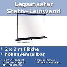 Legamaster Leinwand mit 2 x 2 Meter Fläche  ab 15,- € / Tag oder 30,- € / Wochenende. Dieses Produkt können Sie unter www.beamer-verleih-karlsruhe-mannheim.de reservieren.