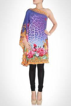 Dual Hued Floral And Animal Print Kaftan