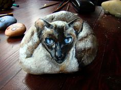 Siamese Cat - painted rock