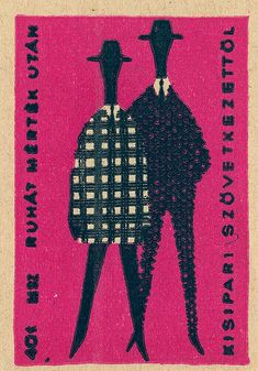 Vintage Hungarian match box screen printed illustration. Simple men in outline with tiny patterns creating suits.