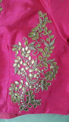 Zardozi Embroidery, Embroidery On Kurtis, Hand Embroidery Dress, Kurti Embroidery Design, Couture Embroidery, Embroidery Motifs, Hand Embroidery Designs, Embroidered Blouse, Saree Jacket Designs