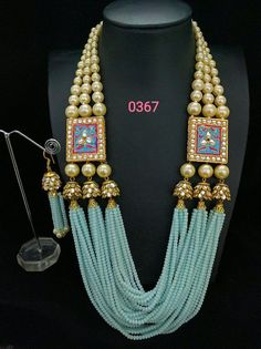 Colorful Jade beads and shell pearls are woven together to create this magnificent look. Statement Necklace set with matching earrings. Pair it with your ethnic clothing or a western gown for a unique look. Available in many color combinations. Bead Jewellery, Gold Jewelry, Beaded Jewelry, Jewelery, Beaded Necklace, Jewellery Shops, Jewellery Bracelets, Handmade Jewelry, Choker Necklaces