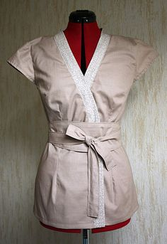 Haut kimono avec boutonnières cachées