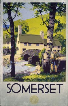 Vintage poster produced for the Great Western Railway GWR to promote rail travel to Somerset The poster shows a view of the countryside in Somerset Posters Uk, Train Posters, Railway Posters, Retro Posters, Old Poster, Poster Ads, Advertising Poster, Somerset Village, British Travel