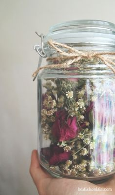 Roses & Gypsophila in a jar.