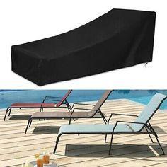 @#! 210D Black Outdoor Garden Waterproof Sunbed Cover Sun...