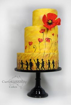 """Lest we Forget"" ANZAC day 100 yrs on cake collaboration - Cake by curiAUSSIEty custom cakes Army Cake, Military Cake, Beautiful Cakes, Amazing Cakes, Lest We Forget Anzac, Lemon Wedding Cakes, Poppy Cake, Hand Painted Cakes, Anzac Day"