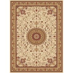 Concord Global Cyrus Ivory Rectangular Indoor Woven Oriental Area Rug (Common: 9 x 13; Actual: 111-in W x 150-in L x 9.25-ft Dia)