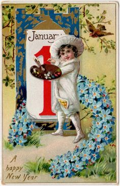 january 1 vintage new year postcard new year calendar new year greetings new