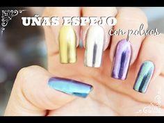 Uñas espejo con polvos / uñas cromo / mirror powder nails - YouTube