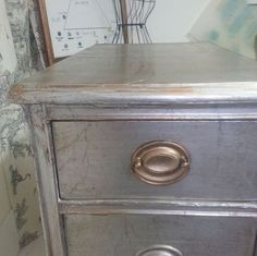 how to cover your furniture with aluminum foil chalk paint meets lenny, chalk paint, painted furniture, Reynolds Wrap aluminum foil covered badly damaged piece of furniture Handles also covered in French gilded wax