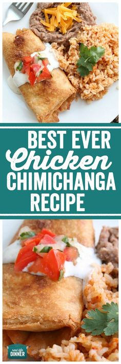 I realize this is a pretty bold claim but this really is the Best Ever Chicken Chimichanga Recipe. I got it about 8 years ago from my sister. Mexican Dishes, Mexican Food Recipes, Dinner Recipes, Ethnic Recipes, Vegetarian Mexican, Vegetarian Recipes, Dessert Recipes, Desserts, Burritos