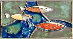Schäffenacker Tile Wall Plaque with Fish, 1970