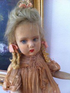 RARE Large Cloth Felt Vintage Antique Genuine Early Lenci Doll