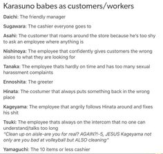 Haikyuu characters as costumers or workers