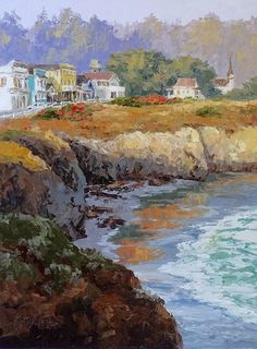 'Quiet Light' ~ 16 x 12 | Original oil painting of the historic village of Mendocino, and its dramatic cliffs over the bay. By artist Erin Dertner