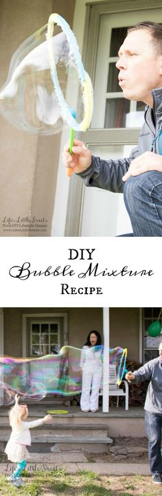 "This DIY Bubble Mixture Recipe is sure to please ""kids"" of all ages. It's the perfect activity for kids vacations or to have on hand for everyday use. Why buy bubbles from the store when you can make them at home? www.LifesLittleSweets.com"