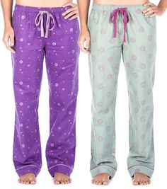 Women s 2 Pack Cotton Flannel Lounge Pants with Free Socks 13d04a825