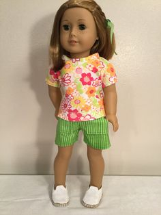 "American Made 18"" Girl Doll Clothing Shorts and Tee, Lime Green Shorts with Pockets, Pink, Orange, Green Floral on White Print Tee Item 1189 by LeslieNLaura on Etsy"