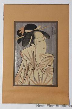 Antique Japanese Utamaro Woodblock Print Woman wwii Pacific Cmdr Jenkins Estate