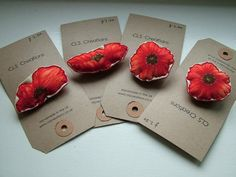 SALE  Red Poppy Fabric Brooch/Pin by CLScraftcreations on Etsy, £2.50