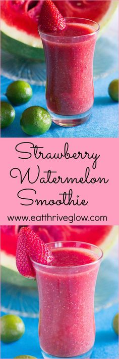 This simple Strawberry Watermelon Smoothie recipe has fresh ginger, lime, and chia seeds for health benefits! Easy to make and delicious. http://eatdojo.com/healthy-smoothies-weightloss-detox-clean/