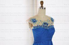 Royal Blue Bridesmaid Dress Chiffon Wedding Dress Tulle Long Prom Dress Backless Sex Bridesmaid Gown by MiLanFashion