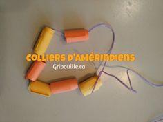 Colliers d'Amérindiens - Bricolages pour enfants - Gribouille Paper, Beads, Necklaces, Children