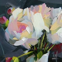 Peonies in Vase no. 12 6 x 6 x inch x 15 cm) Oil paint on archival gessobord panel. Copyright: Angela Moulton © Painting will be dry and ready to ship March Peony Drawing, Drawing Flowers, Painting Flowers, Life Drawing, Still Life Oil Painting, Guache, Arte Pop, Arte Floral, Abstract Flowers