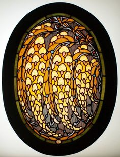 "Jacques Gruber (1870-1936) - Laburnum Flowers Leaded Glass Window. Multi-Layered & Etched Coloured Glass & Glass Cabochons with Lead Came in a Painted Wood Window Frame. Nancy, France. Circa 1898. 26-3/4"" x 18""."