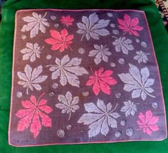 2-Vintage-Hanky-Signed-FAITH-AUSTIN-Leaves-Butterflies-with-Scientific-Names