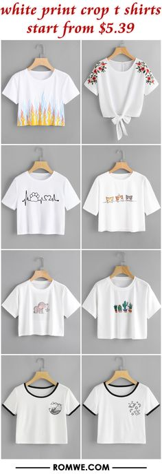 white print crop t shirts from $5.39 - romwe.com