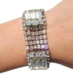 Formal Rhinestone Bracelet Baguette and Chaton Rhinestones on